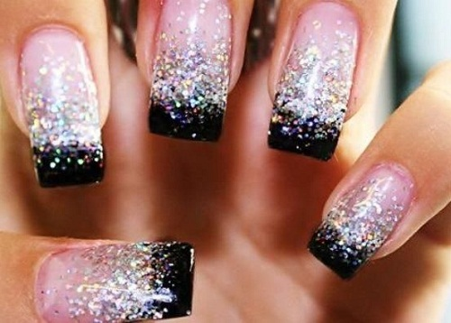Black and Silver French Tip Glitter Nails