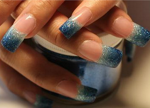 Blue and Silver Ombre Glitter Nails