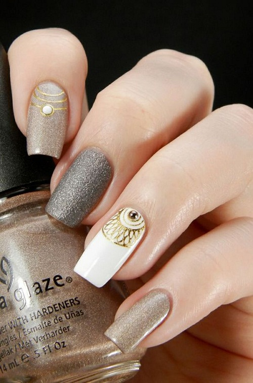 Gold Silver and White Glitter Nails with Gems