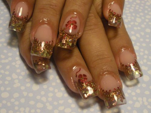 Gold French Tip Glitter Nails