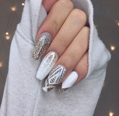 Long Gold and White Glitter Nails
