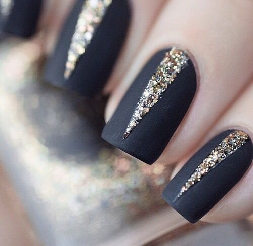 Matte Black with Gold Glitter Nails