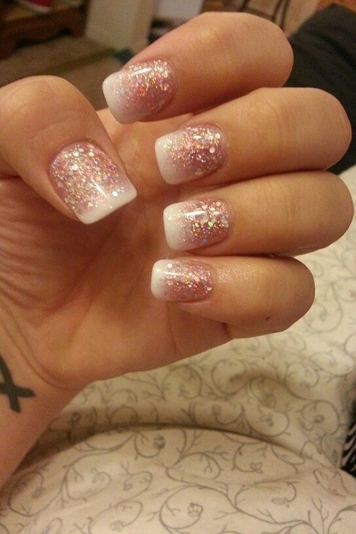 Pink and White Ombre Square Glitter Nails