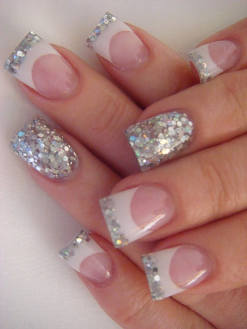 Silver and White French Tip Glitter Nails