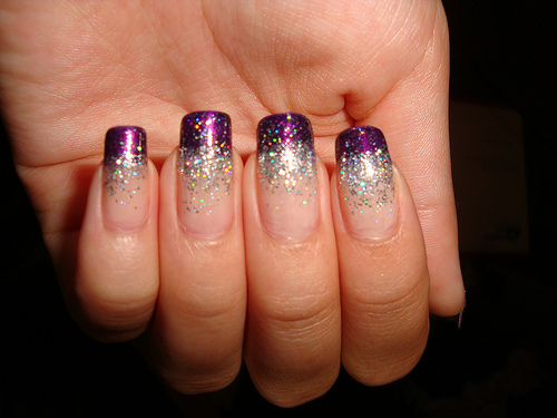 Violet and Silver Two Tone Glitter Nails