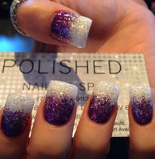 White and Violet Ombre Glitter Nails