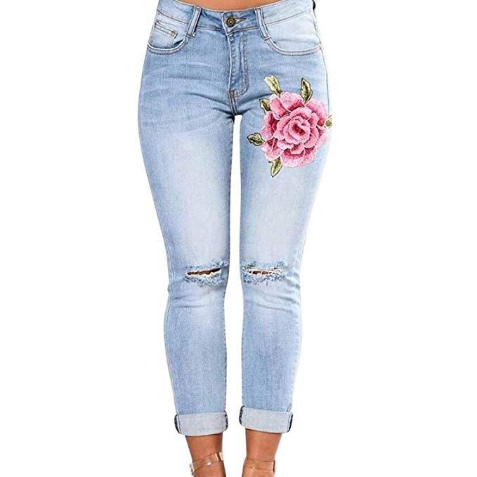 Hattfart Womens Skinny Jeans Butt Lift Hip Denim Pants Flowers Embroidered Printed Low Rise Jeans