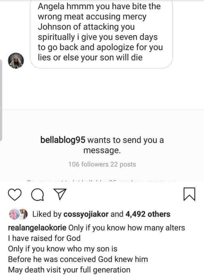 Angela Okorie receives death threat on her son for attacking Mercy Johnson