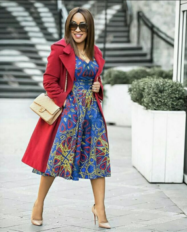 ankara gown with red coat