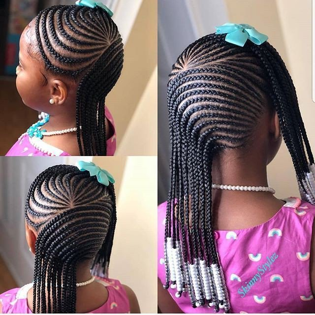 Simple school hairstyles with beads