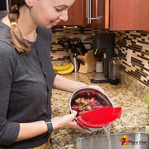 Resort Chef Kitchen Clip-on Pot Strainer. Best for Straining Pasta, Meat Grease, Eggs, Rice, Fruits & Vegetables – BPA Free FDA Approved – Includes Bonus Matching Silicone Spatula – Makes a Great Gift  - 1571867000 181 Resort Chef Kitchen Clip on Pot Strainer - Resort Chef Kitchen Clip-on Pot Strainer. Best for Straining Pasta, Meat Grease, Eggs, Rice, Fruits & Vegetables – BPA Free FDA Approved – Includes Bonus Matching Silicone Spatula – Makes a Great Gift