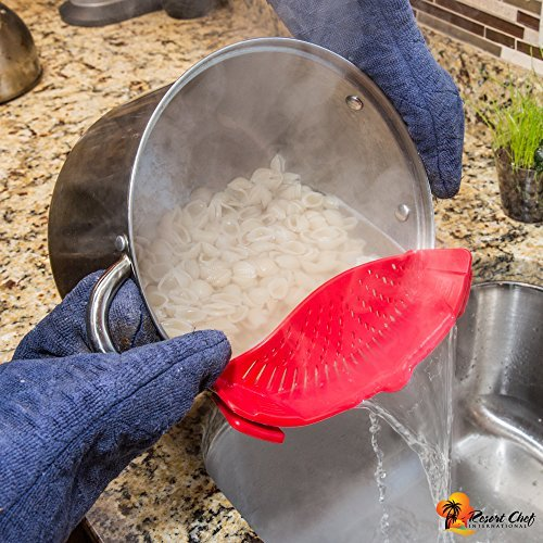Resort Chef Kitchen Clip-on Pot Strainer. Best for Straining Pasta, Meat Grease, Eggs, Rice, Fruits & Vegetables – BPA Free FDA Approved – Includes Bonus Matching Silicone Spatula – Makes a Great Gift  - 1571867001 592 Resort Chef Kitchen Clip on Pot Strainer - Resort Chef Kitchen Clip-on Pot Strainer. Best for Straining Pasta, Meat Grease, Eggs, Rice, Fruits & Vegetables – BPA Free FDA Approved – Includes Bonus Matching Silicone Spatula – Makes a Great Gift