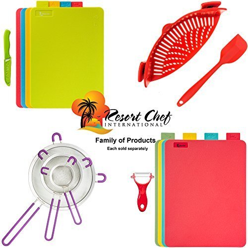 Resort Chef Kitchen Clip-on Pot Strainer. Best for Straining Pasta, Meat Grease, Eggs, Rice, Fruits & Vegetables – BPA Free FDA Approved – Includes Bonus Matching Silicone Spatula – Makes a Great Gift  - 1571867001 883 Resort Chef Kitchen Clip on Pot Strainer - Resort Chef Kitchen Clip-on Pot Strainer. Best for Straining Pasta, Meat Grease, Eggs, Rice, Fruits & Vegetables – BPA Free FDA Approved – Includes Bonus Matching Silicone Spatula – Makes a Great Gift