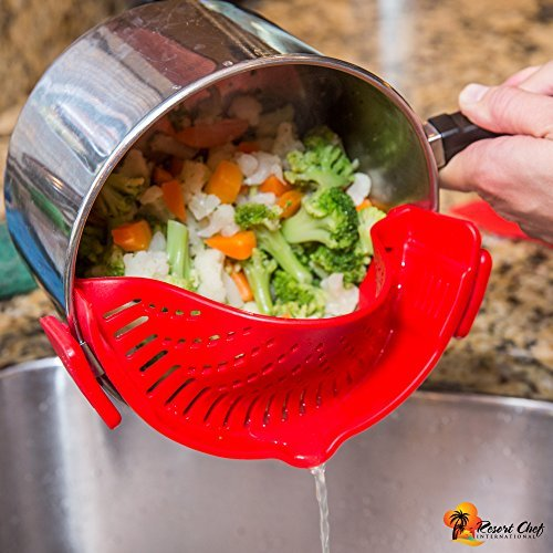 Resort Chef Kitchen Clip-on Pot Strainer. Best for Straining Pasta, Meat Grease, Eggs, Rice, Fruits & Vegetables – BPA Free FDA Approved – Includes Bonus Matching Silicone Spatula – Makes a Great Gift  - 1571867001 902 Resort Chef Kitchen Clip on Pot Strainer - Resort Chef Kitchen Clip-on Pot Strainer. Best for Straining Pasta, Meat Grease, Eggs, Rice, Fruits & Vegetables – BPA Free FDA Approved – Includes Bonus Matching Silicone Spatula – Makes a Great Gift