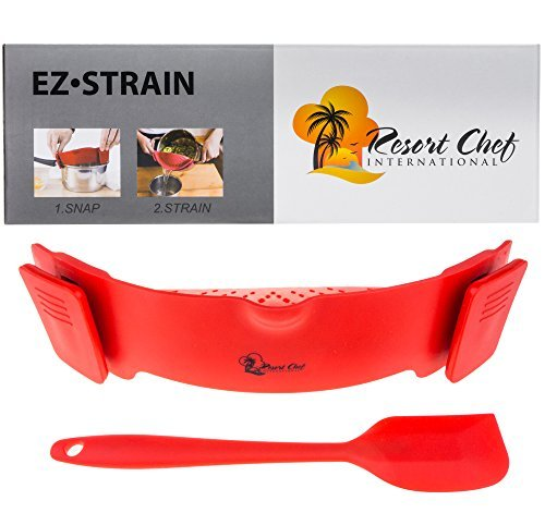 Resort Chef Kitchen Clip-on Pot Strainer. Best for Straining Pasta, Meat Grease, Eggs, Rice, Fruits & Vegetables – BPA Free FDA Approved – Includes Bonus Matching Silicone Spatula – Makes a Great Gift  - Resort Chef Kitchen Clip on Pot Strainer - Resort Chef Kitchen Clip-on Pot Strainer. Best for Straining Pasta, Meat Grease, Eggs, Rice, Fruits & Vegetables – BPA Free FDA Approved – Includes Bonus Matching Silicone Spatula – Makes a Great Gift