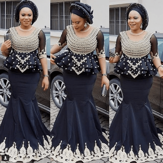 black lace asoebi styles - BACK ASOEBI 2 - 15 Black Lace Asoebi Styles To Make You Look Fabulous This Weekend
