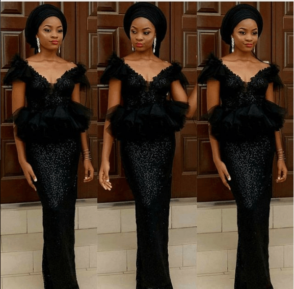 black lace asoebi styles - BLACK ASOEBI 3 - 15 Black Lace Asoebi Styles To Make You Look Fabulous This Weekend