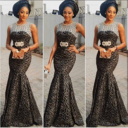 black lace asoebi styles - BLACK ASOEBI 7 e1540550747749 - 15 Black Lace Asoebi Styles To Make You Look Fabulous This Weekend