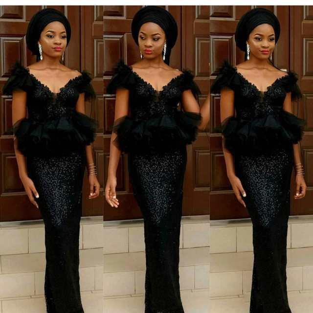 Black Lace Asoebi Styles  black lace asoebi styles - Black Lace Asoebi Styles 4 640x640 - 15 Black Lace Asoebi Styles To Make You Look Fabulous This Weekend