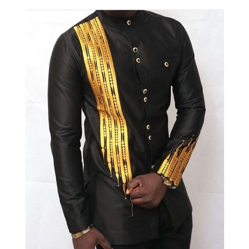 black and gold Embroidery senator wear style