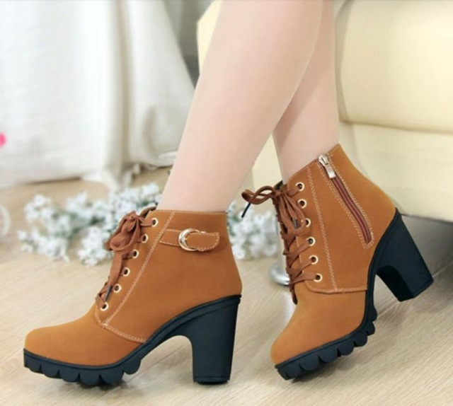 brown ankle boots with heels - women's footwear