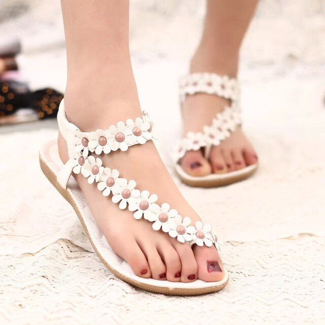 flat sandals with flower beads - Types of Shoes for Women