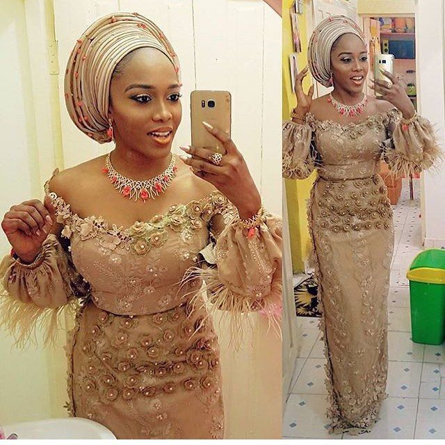 Gold Lace AsoEbi Dresses gold lace asoebi styles - 34d641d5bea662cb903217936a657f59 640x640 - These 25 Gold Lace AsoEbi Dresses Are Nothing But Stunning and Gorgeous