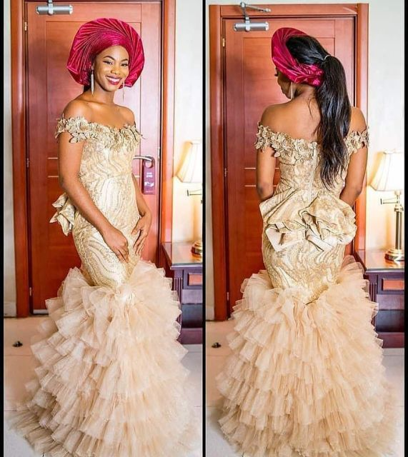 Gold Lace AsoEbi Dresses gold lace asoebi styles - d0676765ae4141bae6b869c989343b8c 571x640 - These 25 Gold Lace AsoEbi Dresses Are Nothing But Stunning and Gorgeous