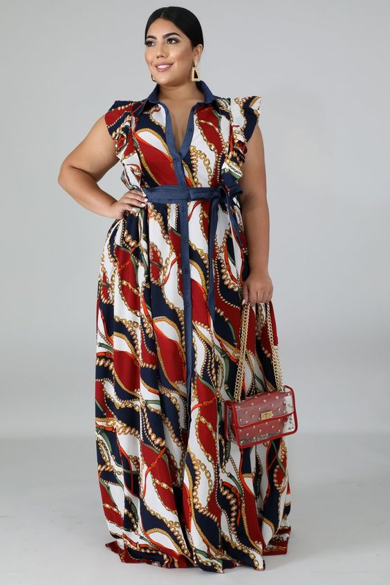 Chains Stripe Maxi Dress | Style GT19264 XDescriptionThis chains stripe maxi dress features, a non-stretch collard neckline, flutter sleeves, finished with a front button up closure.Model is wearing a1XHand wash cold waterDo not bleachMODEL STATSHeigh