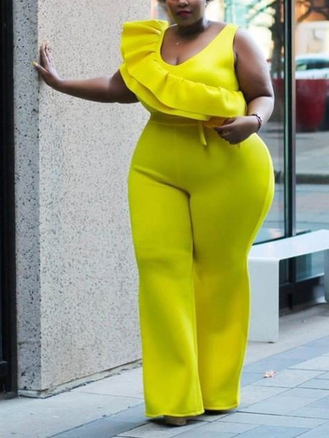 Yellow scuba jumpsuit for plus size women