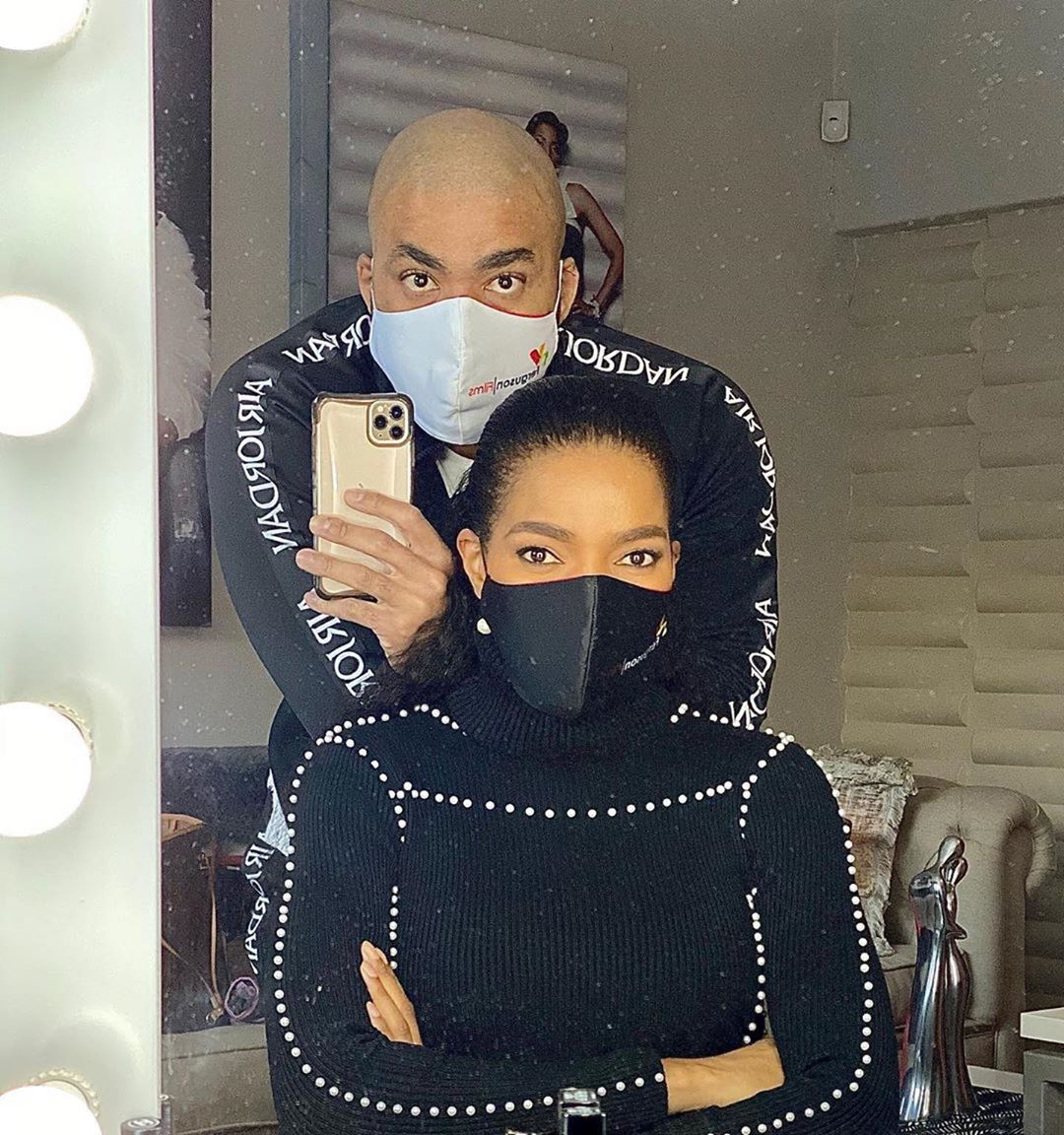 south-african-women-celebrity-lockdown-style-2020-connie-ferguson-husband
