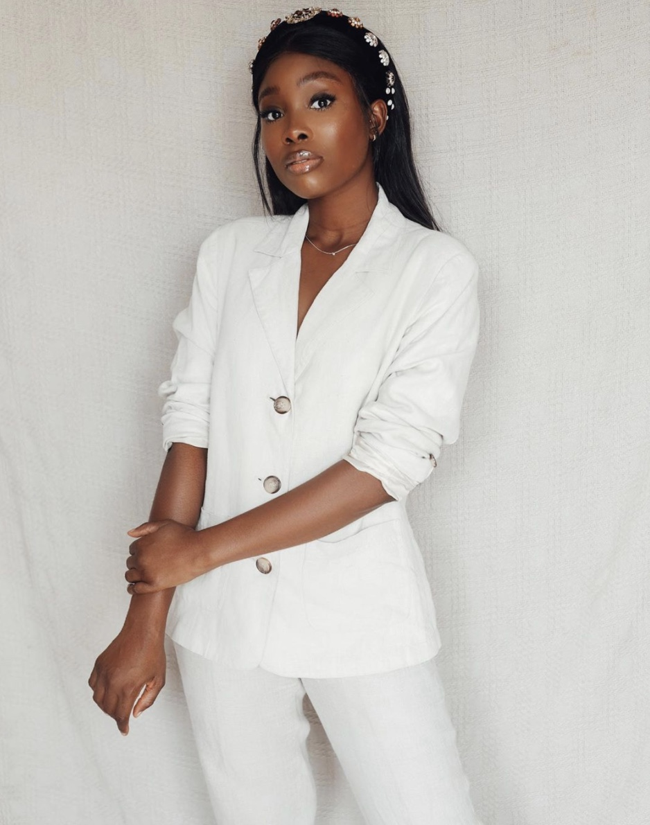 Iamdodos white co-ord set buttoned blazer bedazzled headband