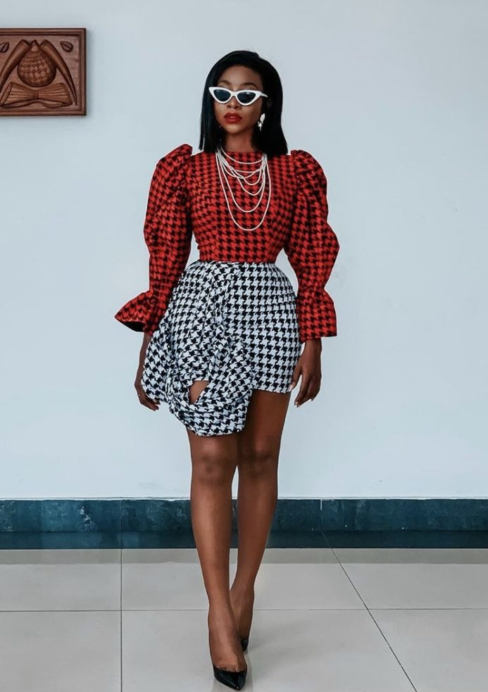 Ini Dima Okojie Red Houndstooth style spring summer