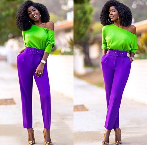 lady in green and purple equidistant color mixing outfit
