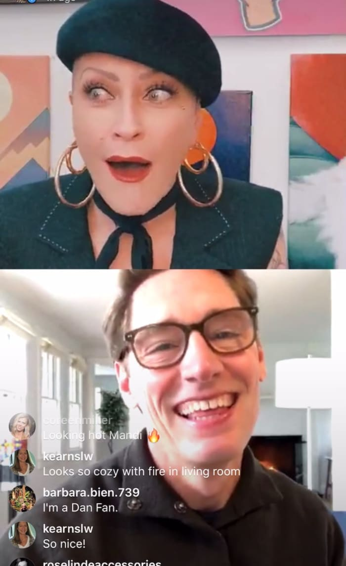 Mandi Line (top) chats with Dan Lawson (bottom) on Instagram Live.