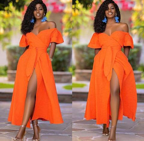 lady in orange and blue complementary color mix
