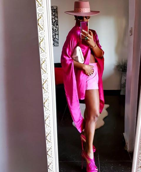lady in a pink analogous mix outfit