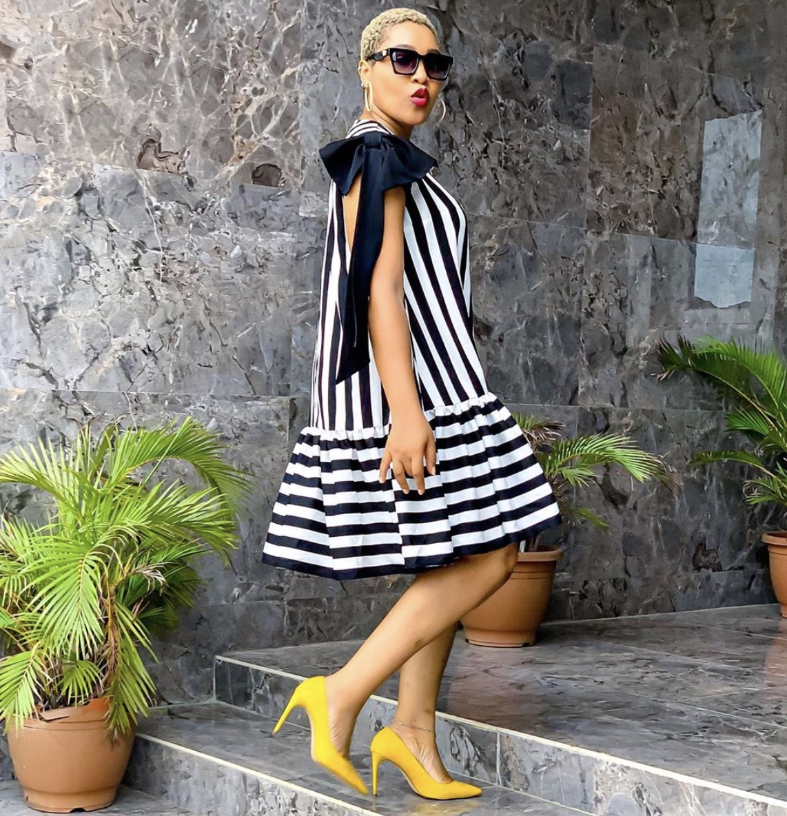 Black and white swing dress yellow pumps stylerave