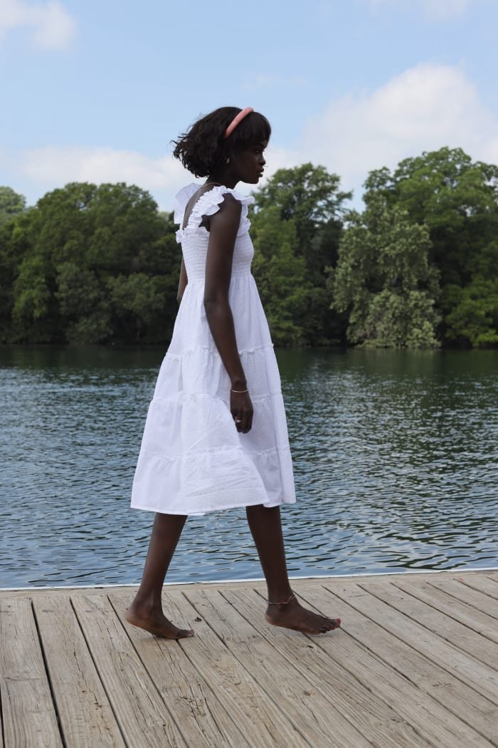 Amy Lefévre of @lefevrediary wearing one of Hill House Home's Nap Dresses.
