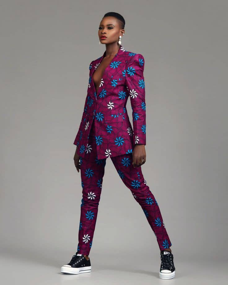 lady in ankara suit with sneakers