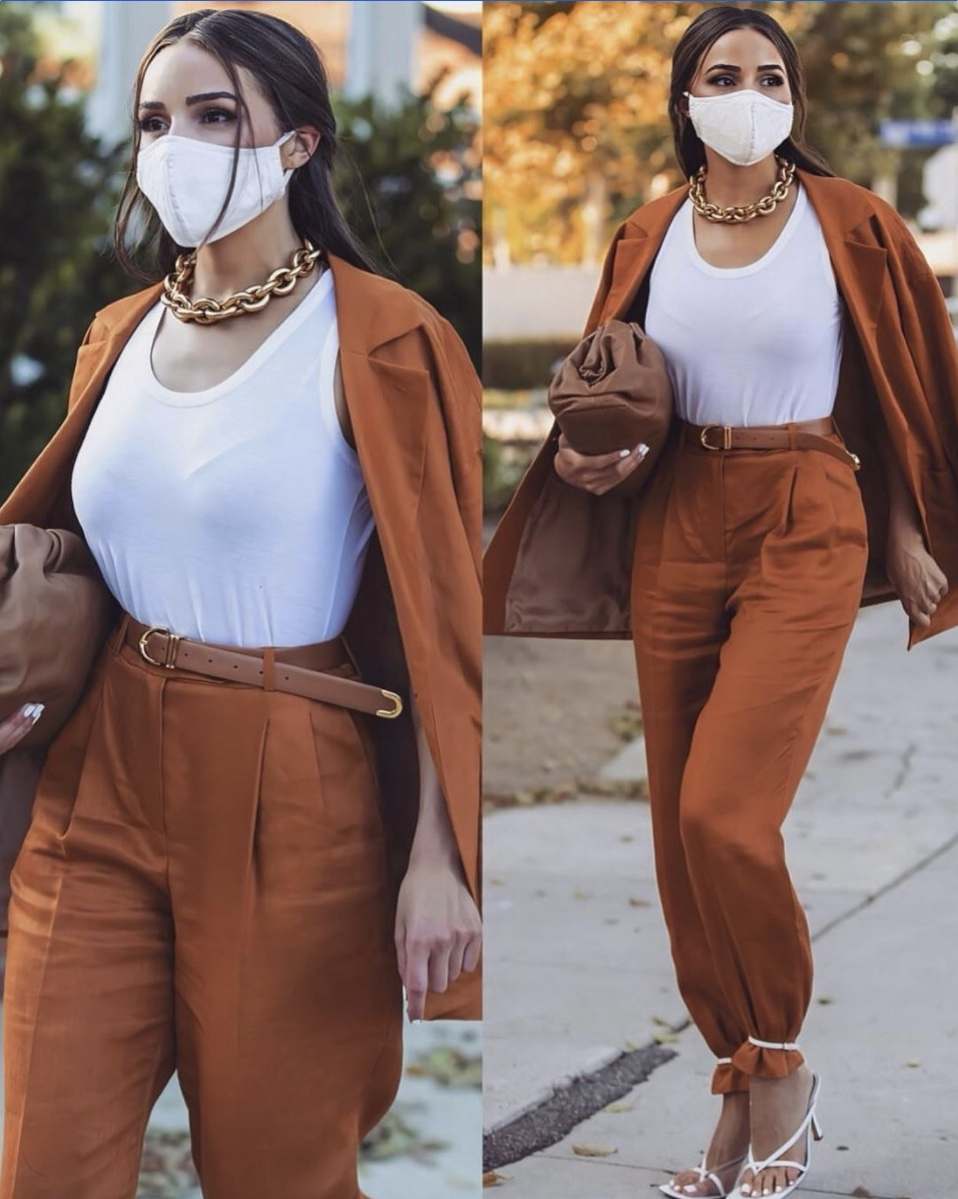 gold chunky necklace ankle tie trousers stylerave