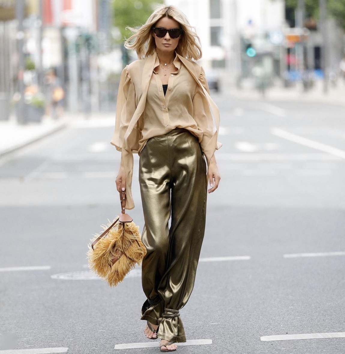 olive green satin trousers furry tote bag stylerave ankle-tie