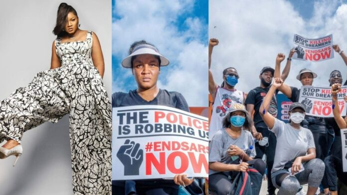 Actress Omotola Ekeinde Joins #ENDSWAT Protest With Her Family Members(Photos)