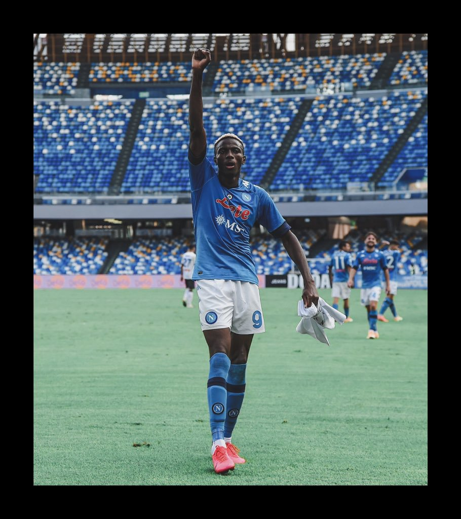 Osimhen celebrates goal with #EndPoliceBrutality
