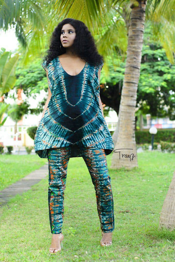lady rocking matching up and down adire outfit