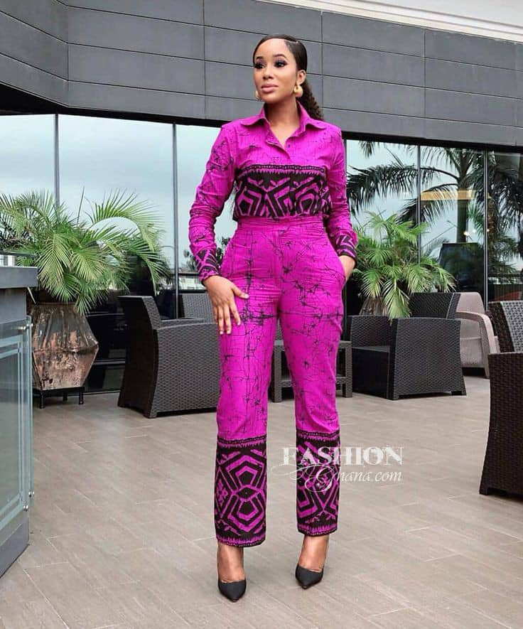 lady wearing mix and match adire jumpsuit