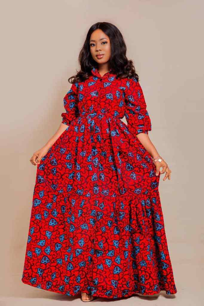 lady wearing red ankara long dress