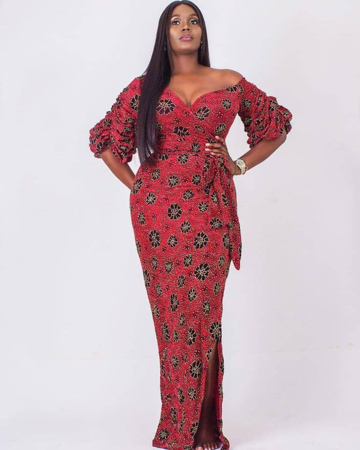 lady in red ankara long gown