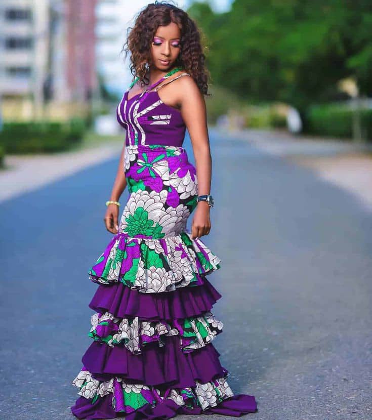 lady wearing a long statement ankara gown