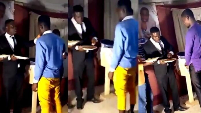 Moment pastor ate Eba and Soup in church and gave members his fingers to lick to receive blessings (Video)